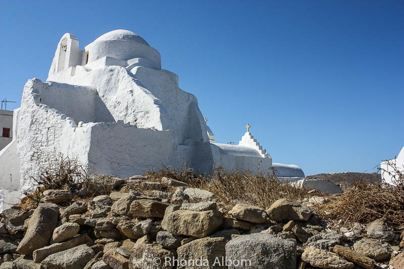 A church on the rocks in Mykonos Greece
