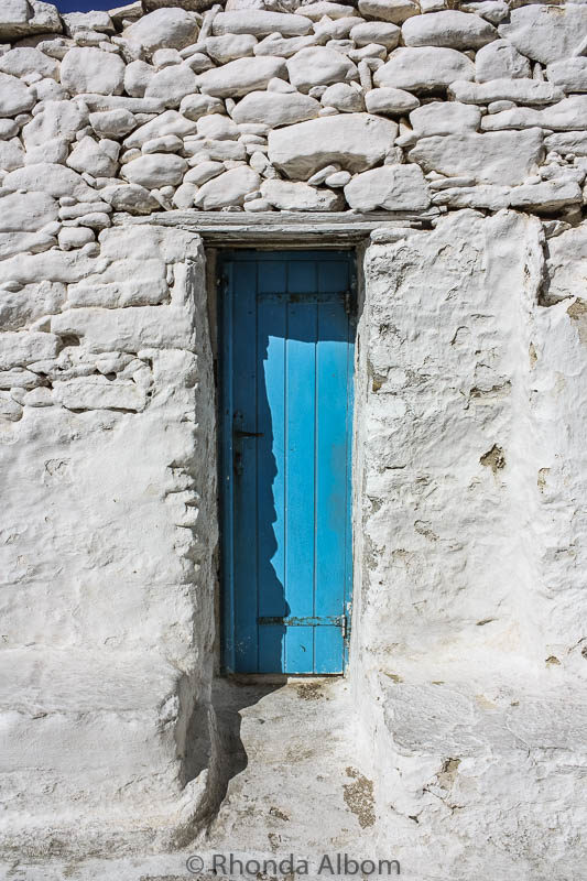 A closer look at the blue door in Mykonos Greece