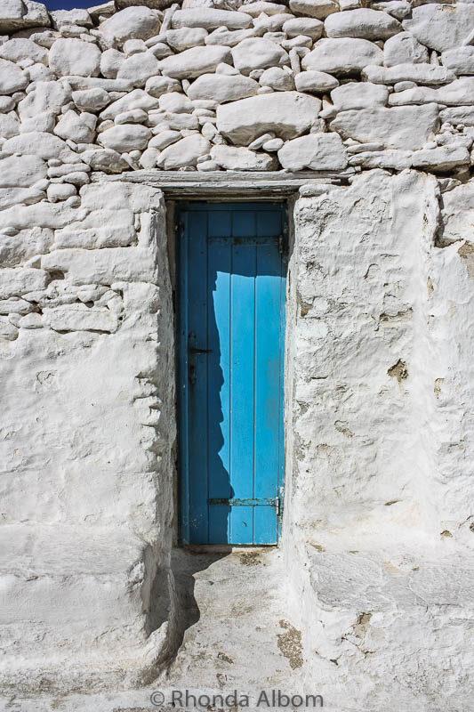 A closer look at the blue door in Mykonos Greece