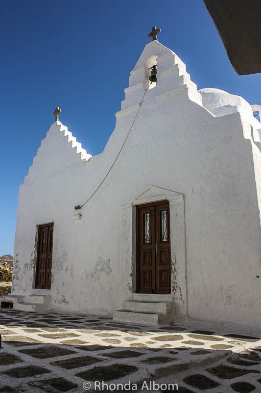 One of many small churches seen as we walked through town from the Mykonos cruise port