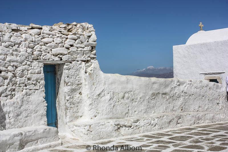 Cobblestone streets of Mykonos Greece
