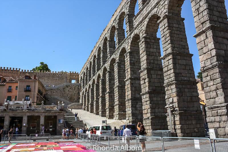 Aqueduct of Segovia Spain surrounding a main courtyard