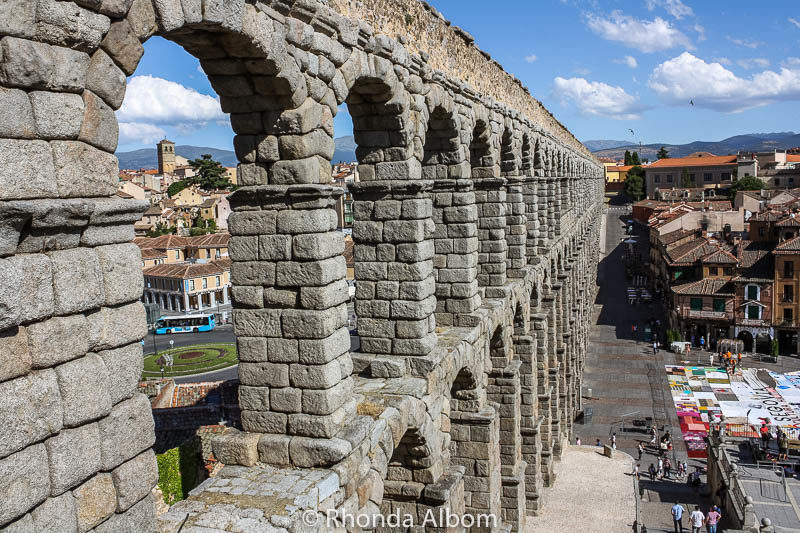 A view from an upper viewing area next to the famous Roman aqueduct in Segovia Spain