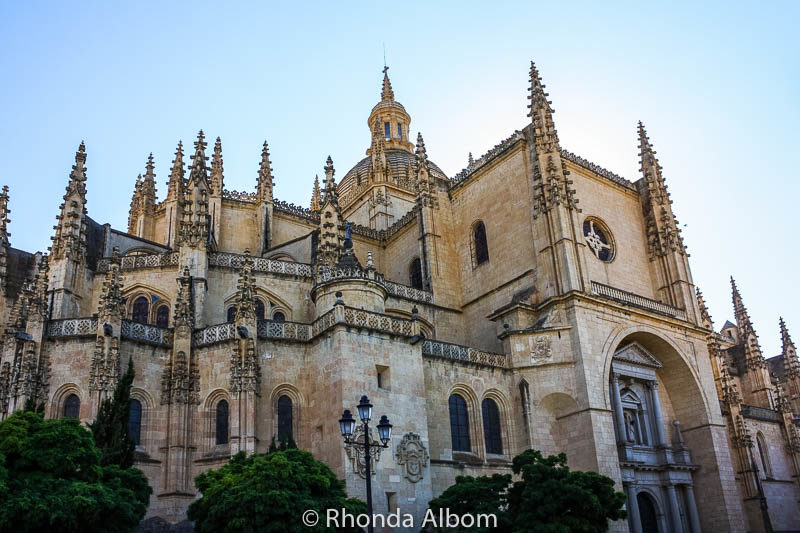 Admiring the late Gothic architecture  of the Segovia Cathedral in Segovia Spain
