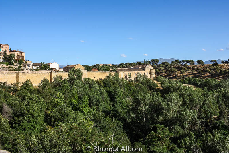 View of the city wall of Segovia Spain