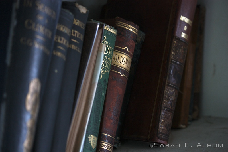 Books in Robert Stevenson's library in the Robert Louis Stevenson Museum in Samoa. Photo copyright ©Sarah Albom 2014
