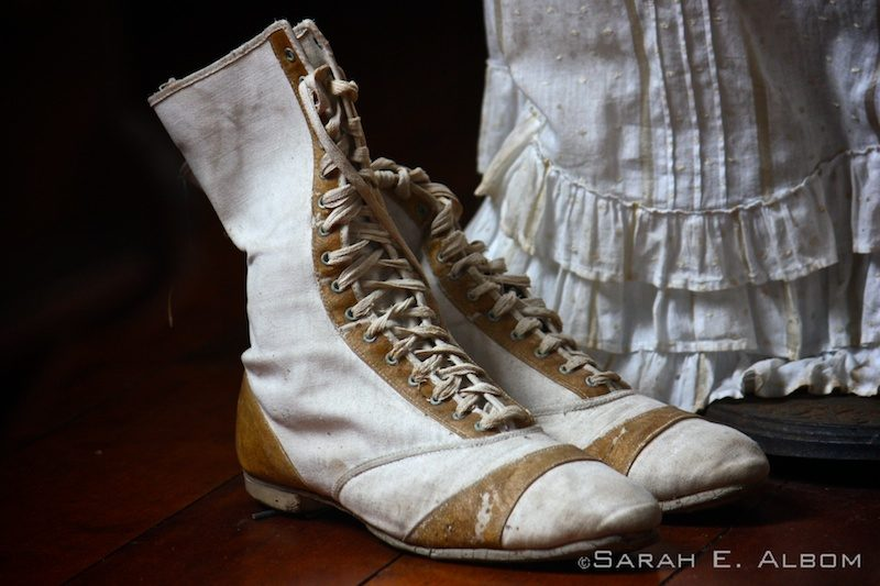 Some of Fanny Stevenson's shoes in the Robert Louis Stevenson Museum in Samoa. Photo copyright ©Sarah Albom 2014