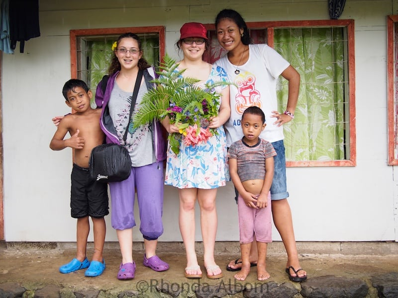 Our teens with the children who showed us Fuipisia Falls