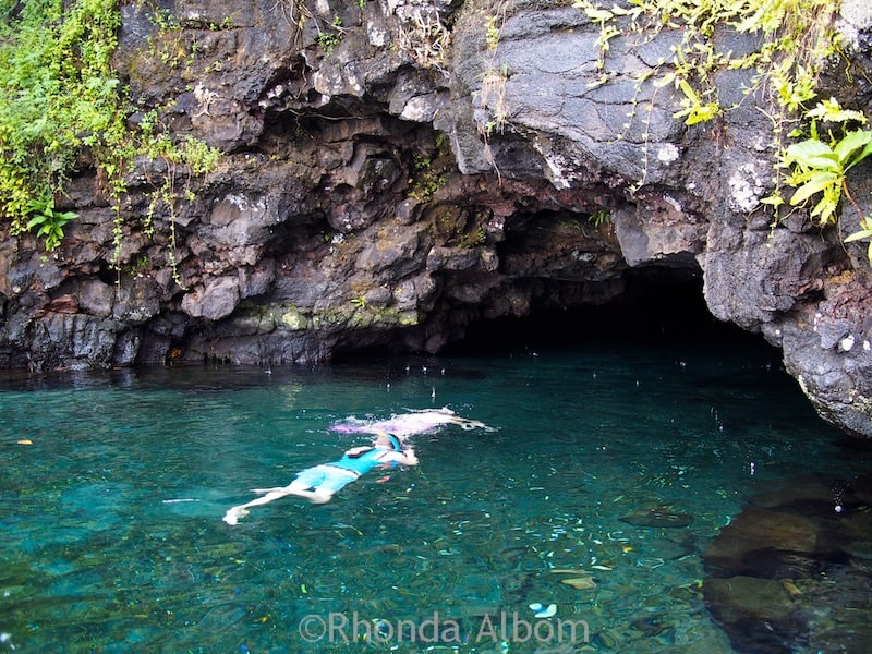 Swimming into the Cave at Piula Cave Pool, one of our Samoa highlights