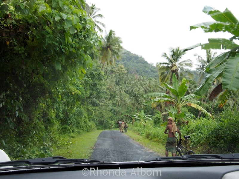 Typical road on the island of Upolu, Samoa