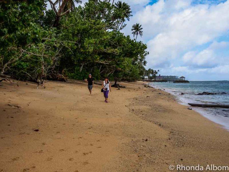 Beach walk in Samoa