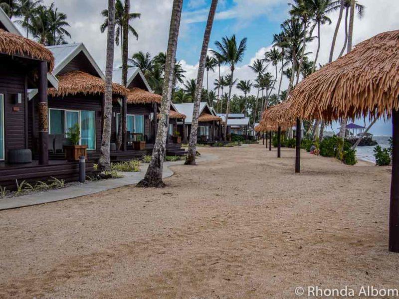 Ocean front villas at Saletoga Sands resort in Samoa