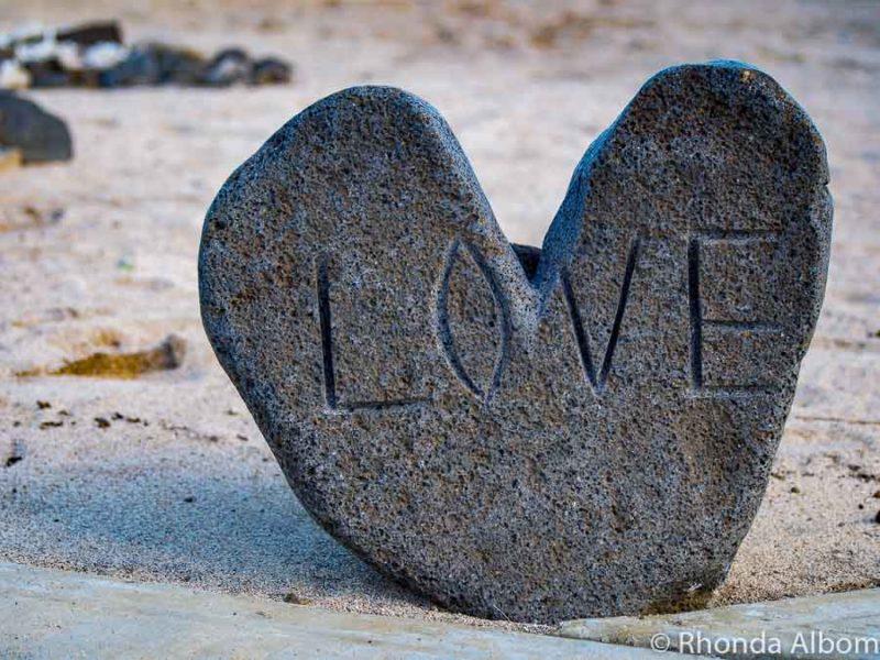 Carved love stone at Saletoga Sands resort in Samoa