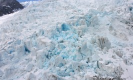 Blue Glacial ice of Franz Josef Glacier in New Zealand