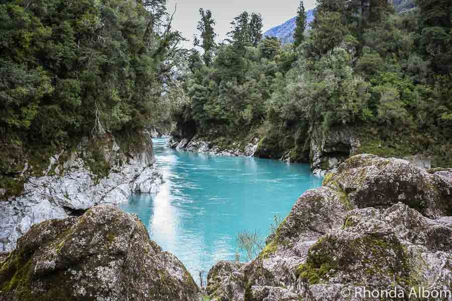 Hokitika gorge at the water's edge in New Zealand
