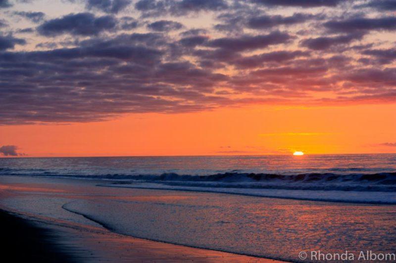 Sunset over Hokitika Beach in New Zealand