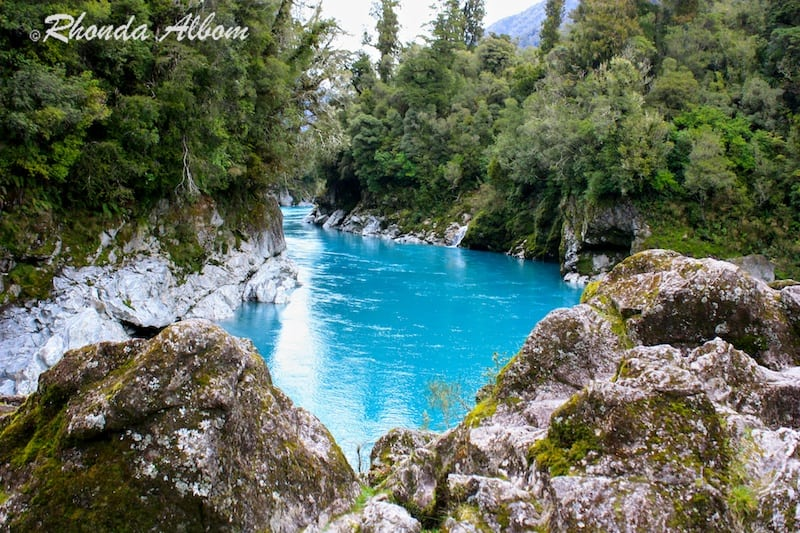 Hokitika New Zealand  city pictures gallery : Azure Waters and Swing Bridge at Hokitika Gorge, New Zealand