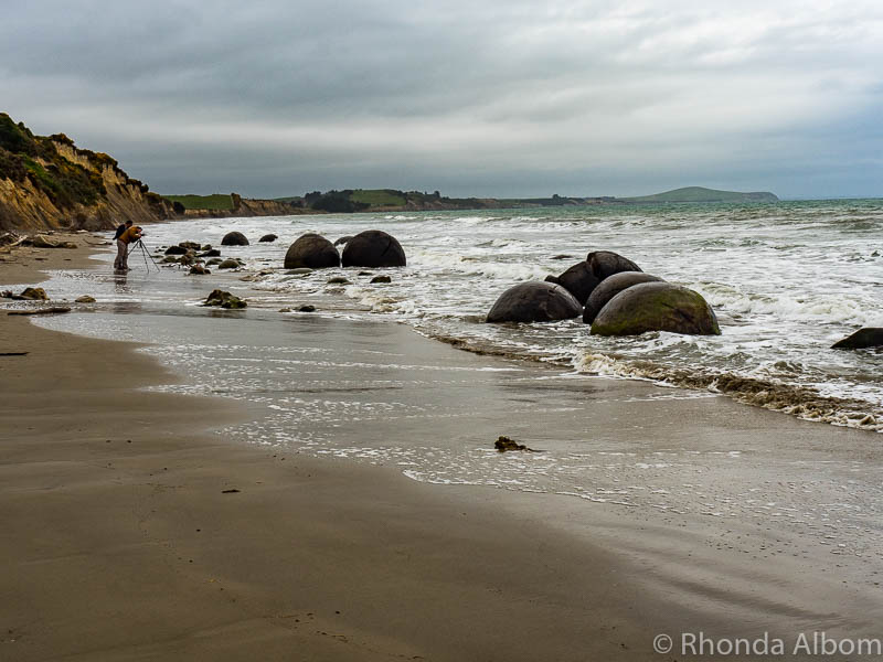 Moeraki Boulders at the turn of the tide on the South Island of New Zealand