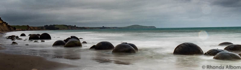 Moeraki Boulders at high tide on the South Island of New Zealand