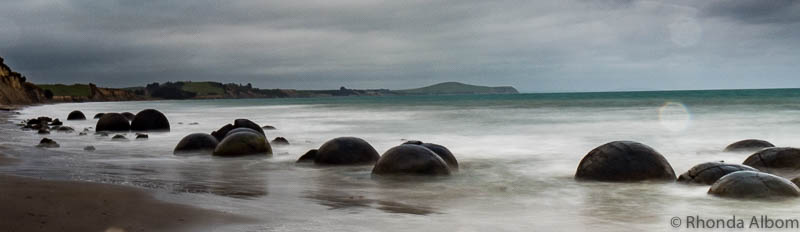 Moeraki Boulders seen while driving from Dunedin to Christchurch in New Zealand
