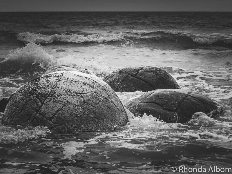 Moeraki Boulders in black and white on the South Island of New Zealand