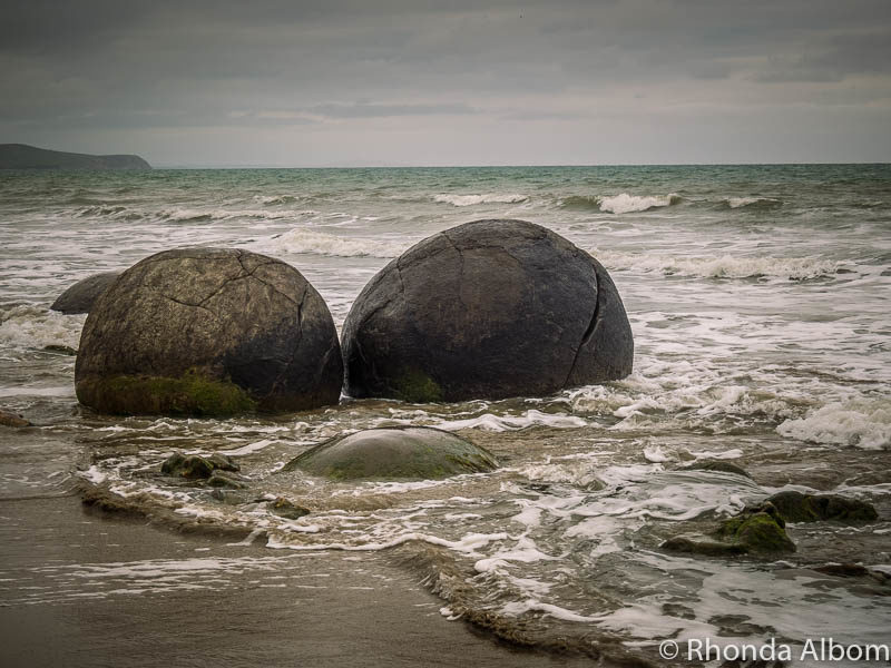 Moeraki Boulders just after the turn of the tide on the South Island of New Zealand