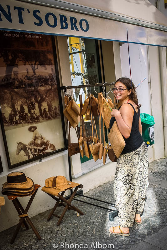 Shopping for cork bags in Evora, Portugal
