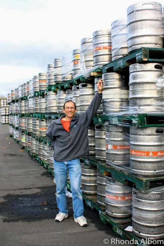 Beer kegs at Tui Brewery on the Mangatainoka River in the North Island of New Zealand.