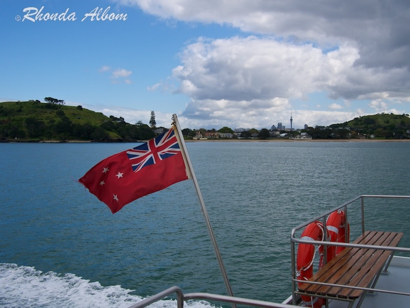 New Zealand's Maritime Flag on the back of the ferry to Auckland