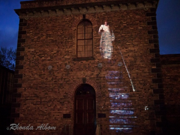 A ghost walking down the stair on Halloween at Motat in Auckland, New Zealand