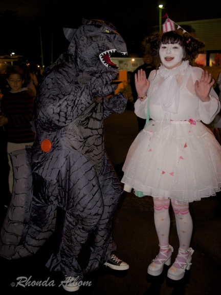 A dragon and a clown are among the costumed guests at Halloween at MOTAT