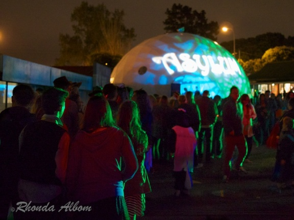 The queue for Bedlam Asylum at Motat's Halloween event in New Zealand.