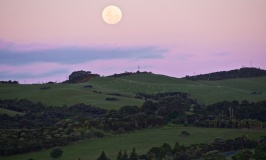 Moonrise over Shakespear Park, an Auckland Regional Park in New Zealand