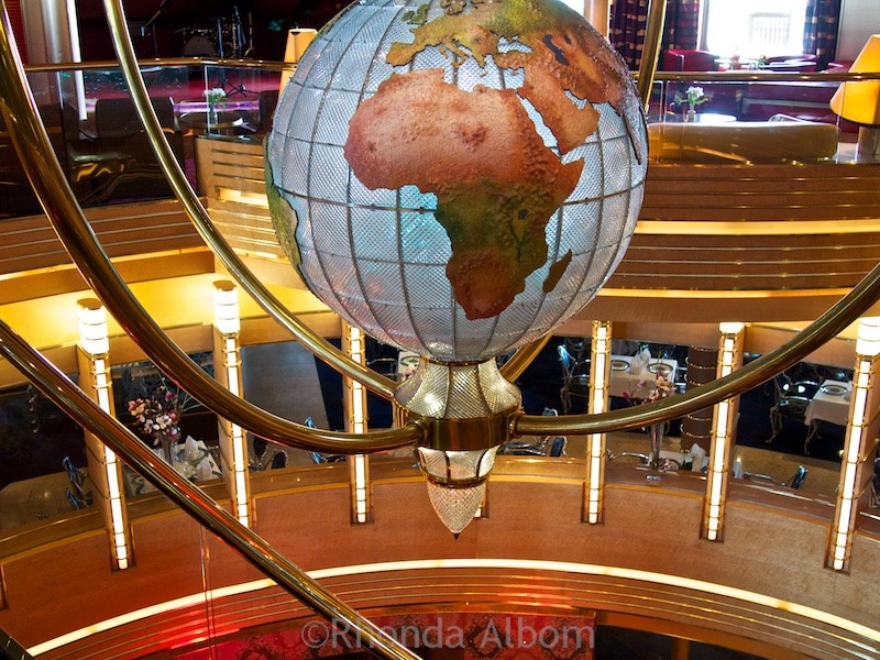 This globe sits over the atrium of the Holland America Oosterdam cruise ship.