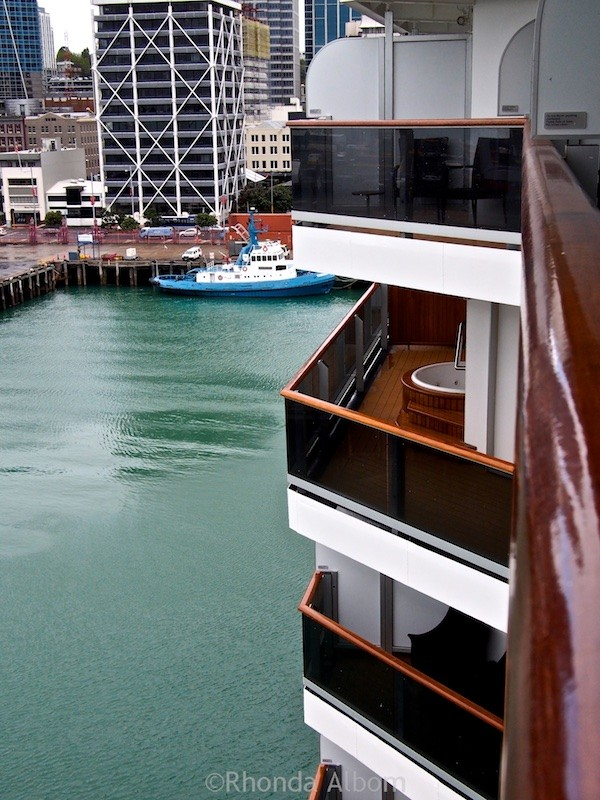 One of the suite balconies on the Holland America Oosterdam with a spa