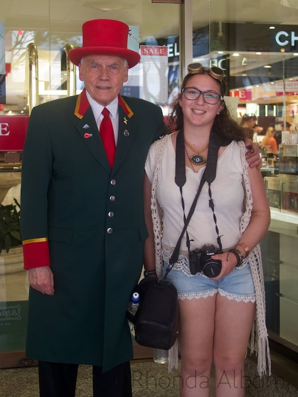 One of two department stores in Wellington, Kirkcaldie and Stains has a doorman with a red top hat