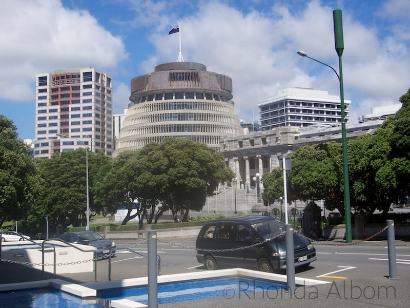 New Zealand Parliament and the building nicknamed the Beehive in Wellington, the Capital City