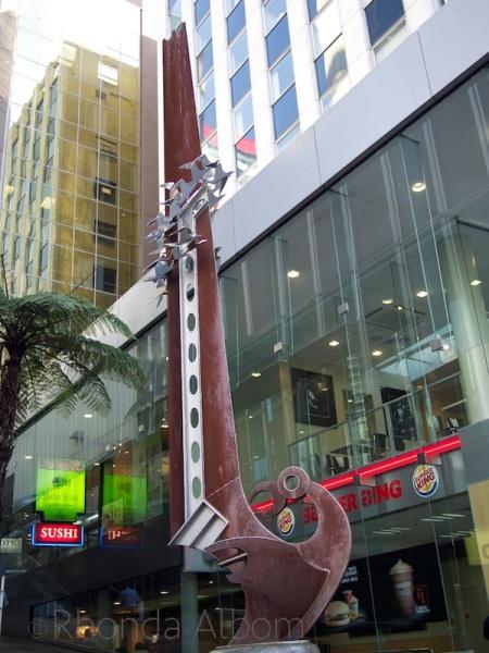 Giant fish hook sculpture on Queen Street in Auckland New Zealand