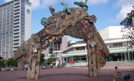 The Maori gate at the entrance to Aotea Square on Queen Street in Auckland New Zealand