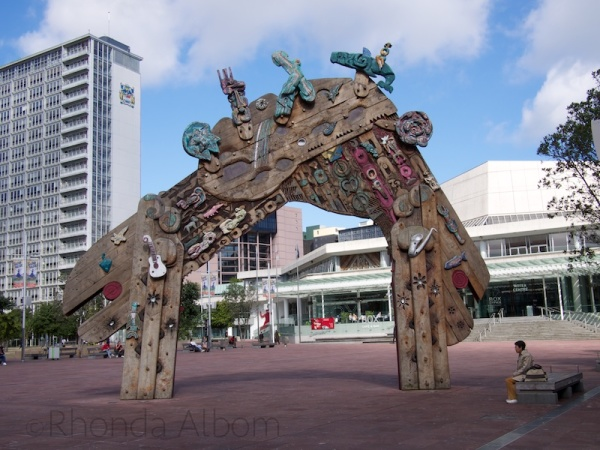 This Maori gate marks the entrance to Aotea Square on Queen Street.