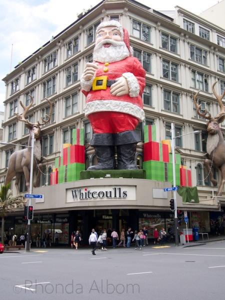 Giant Santa on Queen Street in Auckland New Zealand