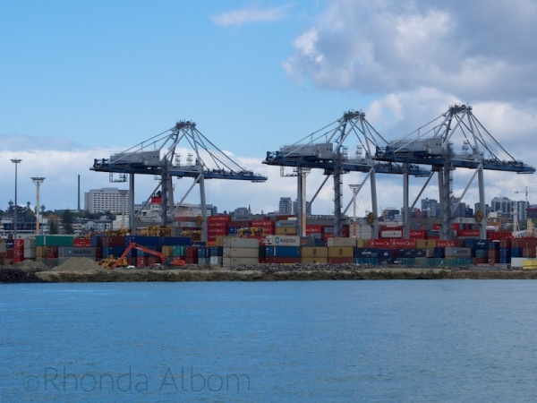 Gantry crane at the main Port of Auckland, New Zealand