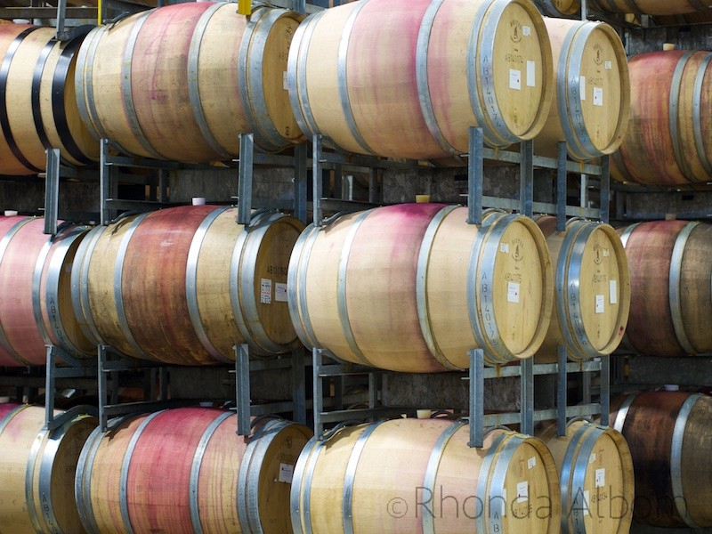 Oak wine barrels inside at Villa Maria Vineyard, Auckland New Zealand