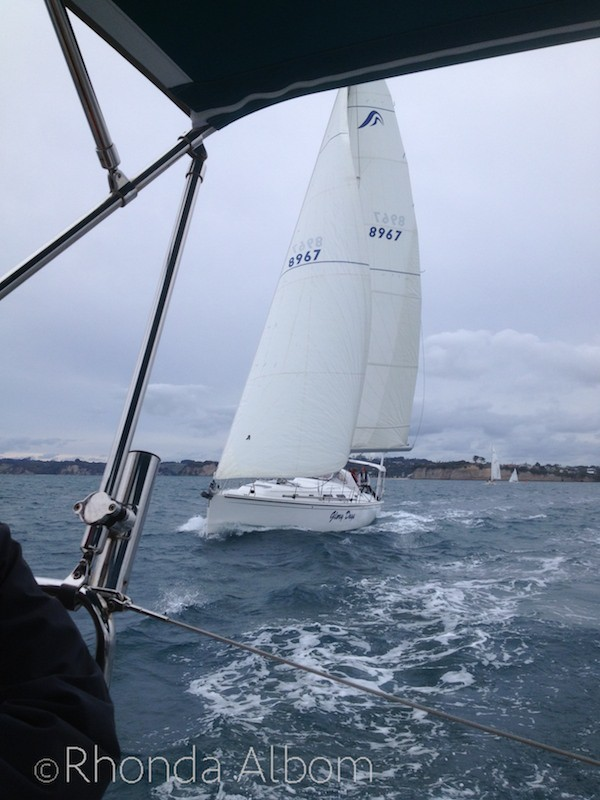 Looking back while yacht racing