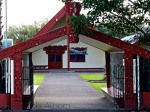 Looking in to the Papakura Marae from the main gate.
