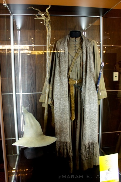 It was really exciting to be able to see Gandalf the Grey's costume in Wellington, New Zealand. They showed off his pointy hat as well! For more pictures of the Hobbit movie costumes used in the films check out the original article at Albom Adventures.