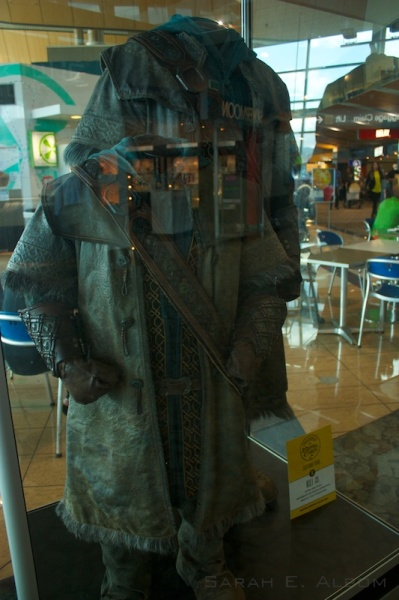 Kili and scale model costumes at the airport in Wellington, New Zealand. He was the only costume we saw with a scale model, but maybe it was because it came up so often in the movies. If you want to see more Hobbit costumes check out the original article on Albom Adventures.