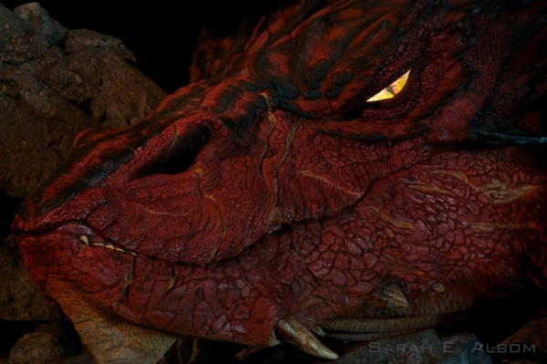 Smaug the dragon at the Wellington airport in New Zealand - Links at Hobbit Movie Costumes on Albom Adventures