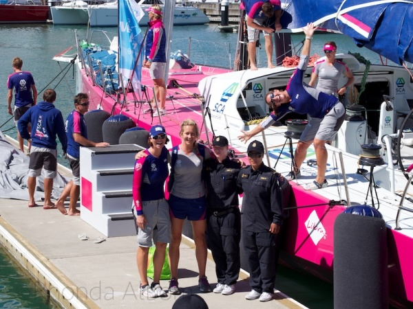 SCA crew getting ready for Pro-Am during the New Zealand stop over of the Volvo Ocean Race.
