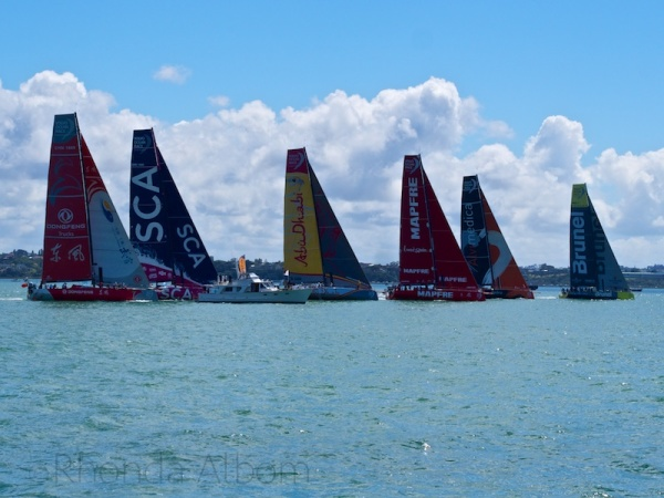 Crossing the start line at the Pro-Am during the New Zealand stop over of the Volvo Ocean Race.